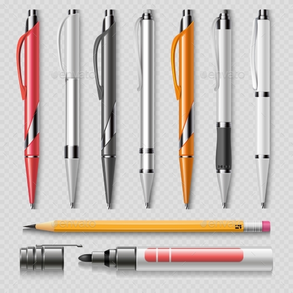 Realistic Office Stationery Isolated - Man-made Objects Objects