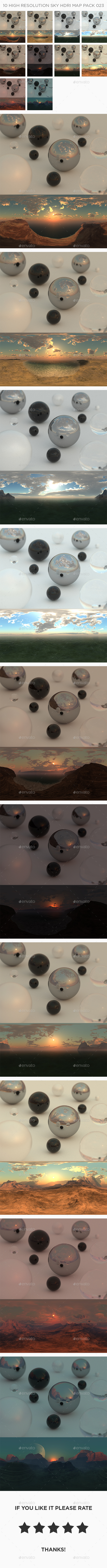 10 High Resolution Sky HDRi Maps Pack 023 - 3DOcean Item for Sale