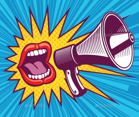 Girl Mouth with Megaphone - Miscellaneous Vectors