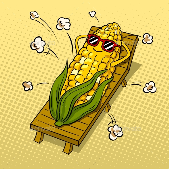 Corn Tans on Beach Pop Art Vector Illustration - Food Objects