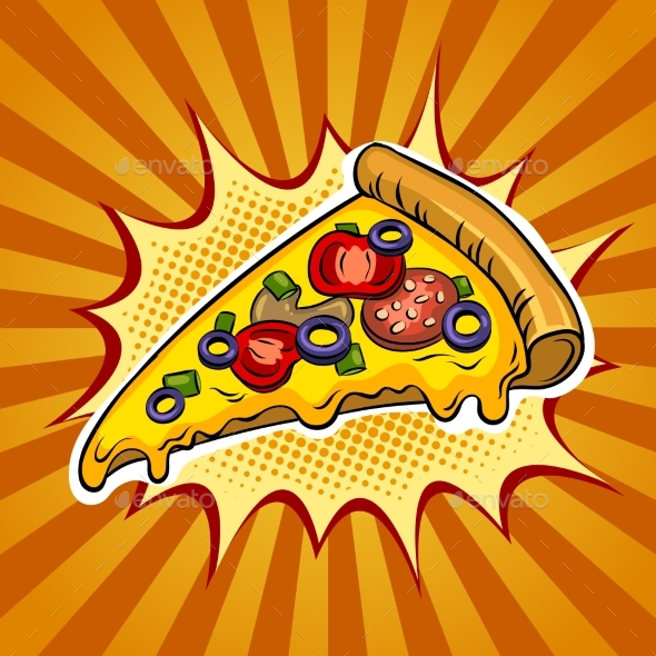 Slice of Pizza Pop Art Vector Illustration - Food Objects