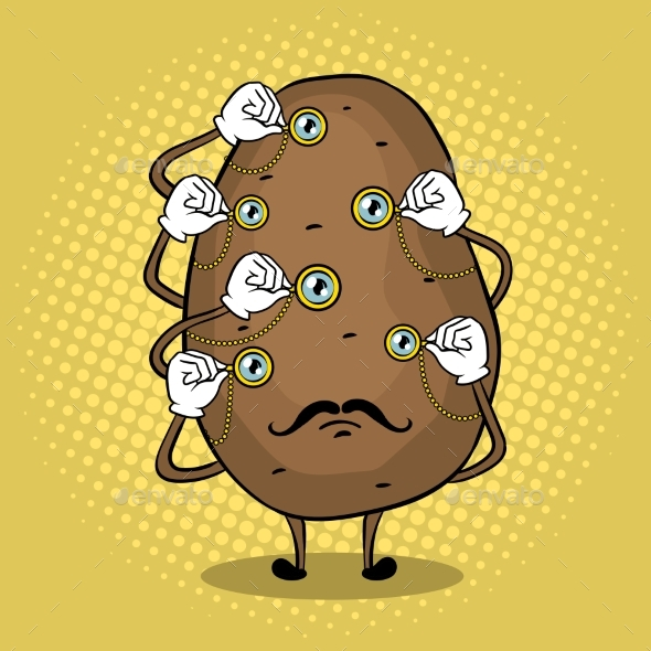 Potato and Monoculars Pop Art Vector Illustration
