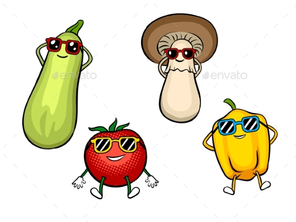Vegetables Sunbath Pop Art Vector Illustration - Food Objects