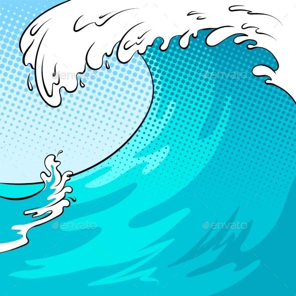 Water Wave Background Pop Art Vector Illustration - Backgrounds Decorative