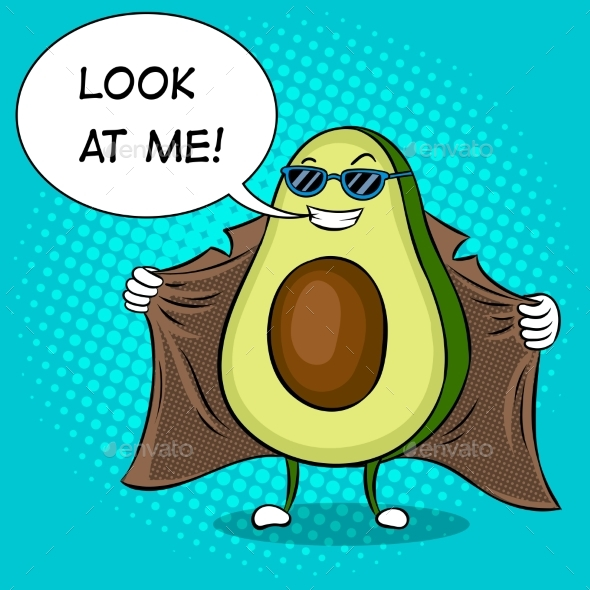 Avocado Exhibitionist in Raincoat Pop Art Vector - Food Objects