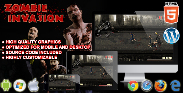 Zombie Invasion - HTML5 Survival Game nulled free download