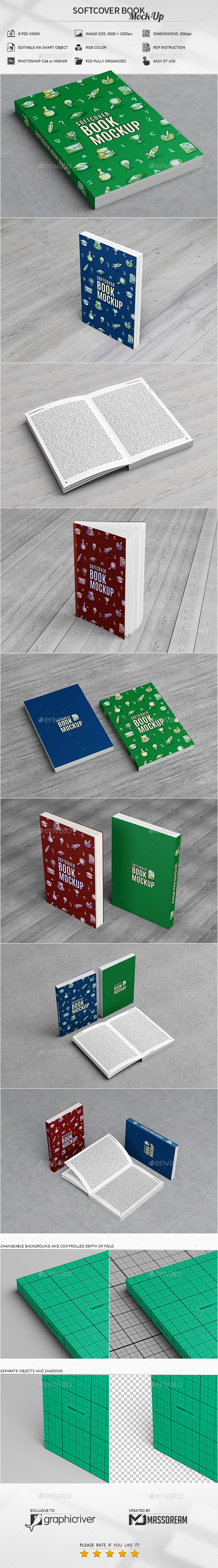 Softcover Book Mock-Up - Books Print
