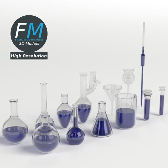 Laboratory Glassware Set - 3DOcean Item for Sale
