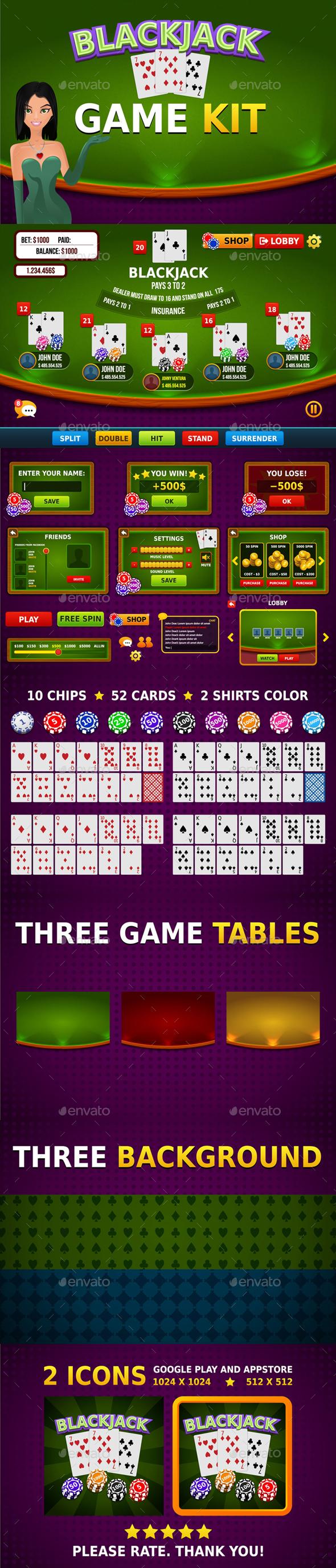 Blackjack Game Assets - Game Kits Game Assets