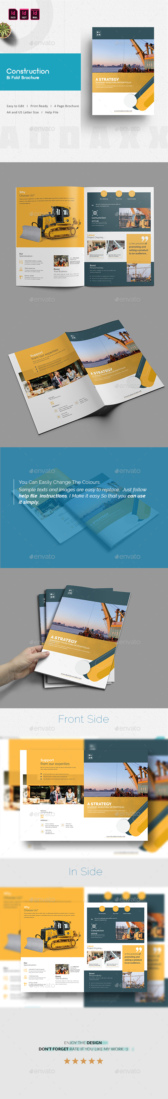 Construction Bi Fold Brochure - Corporate Brochures