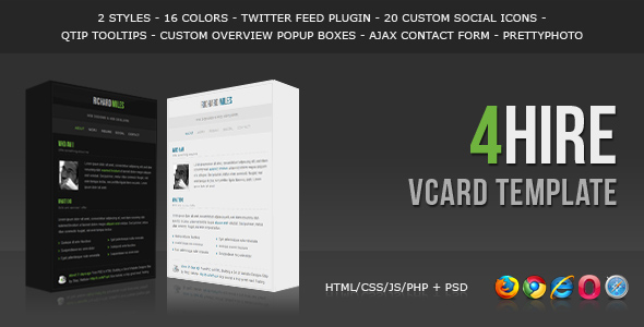 Free Download 4HIRE - Elegant vCard Template Nulled Latest Version