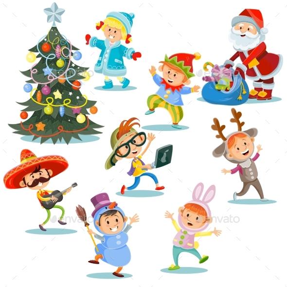 Vector Christmas Carnival Party, Cartoon Children - Seasons/Holidays Conceptual