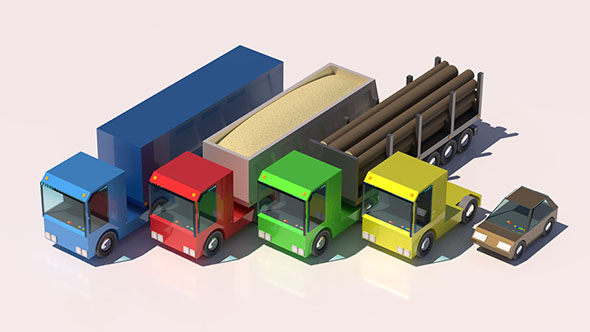 Truck Car Low Poly Pack Rigged 3D model - 3DOcean Item for Sale