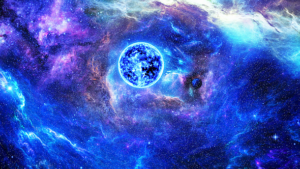 flying through abstract colorful nebulae in space to the