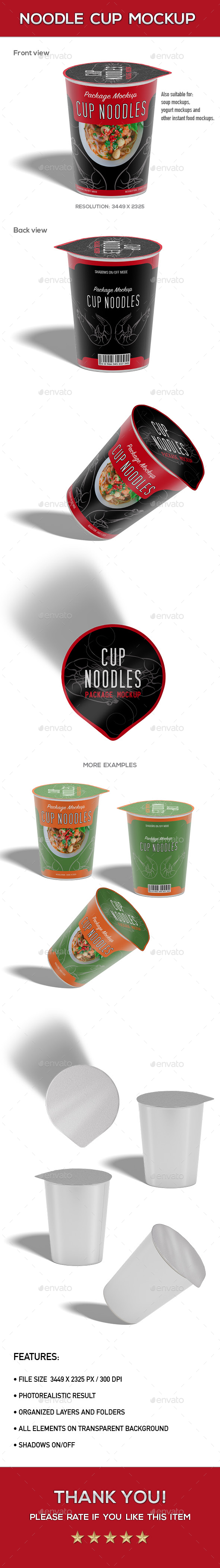 Noodle Cup Package Mock-Up - Food and Drink Packaging