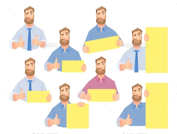 Businessman Holding Blank Sign - Set - People Characters