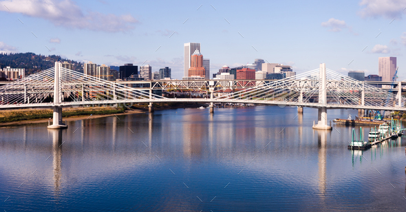 Transit Bridge Portland Oregon Downtown City Skyline Willamette - Stock Photo - Images