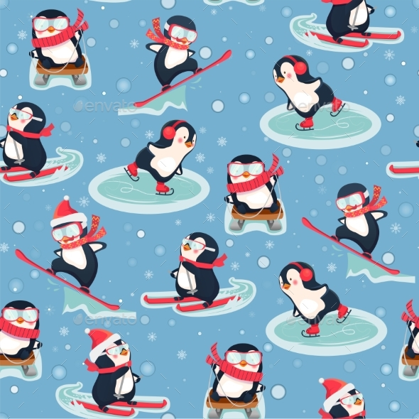 Seamless Pattern with Penguins - Animals Characters