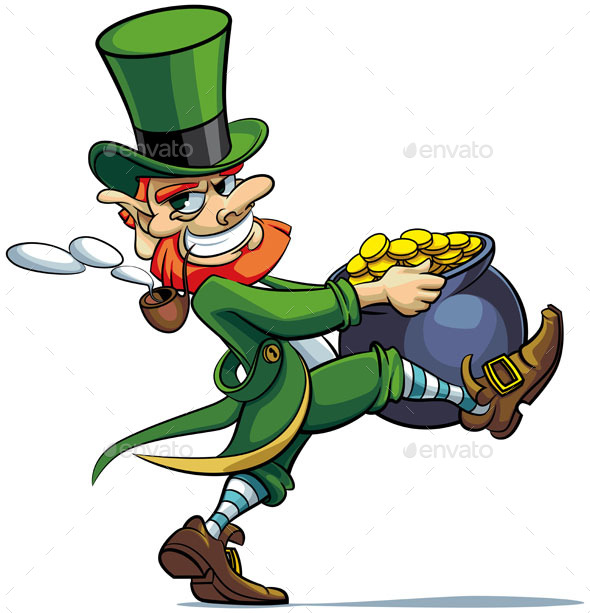 Leprechaun stealing Pot of Coins - People Characters