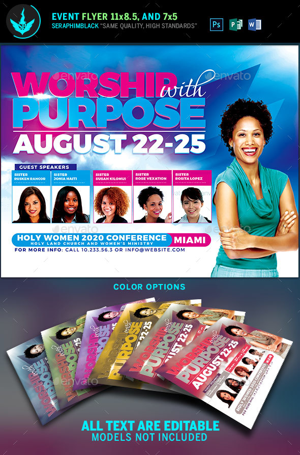 Worship with Purpose Women Conference Flyer Template by SeraphimBlack