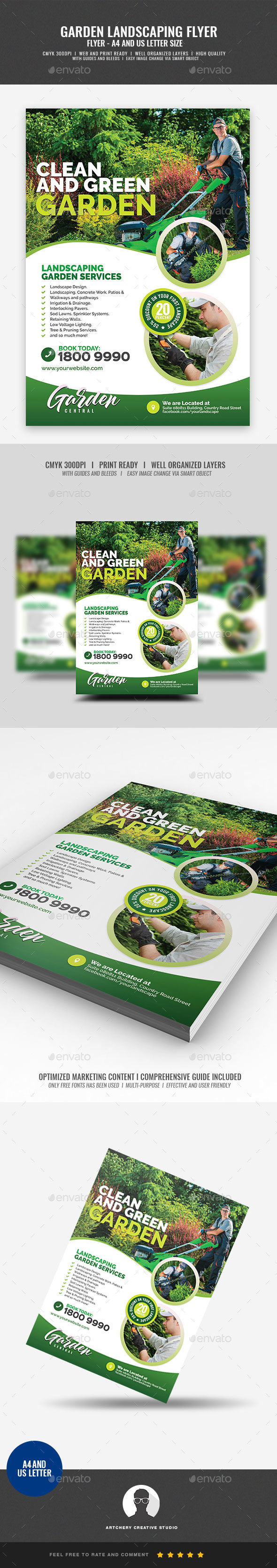 Garden Landscaping and Lawn Design Flyer - Corporate Flyers