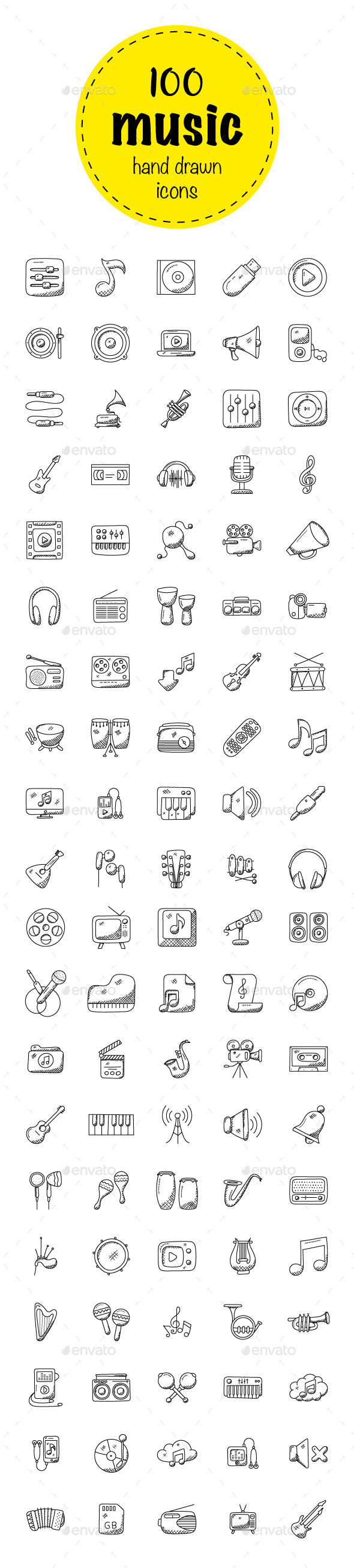 100 Music Hand Drawn Icons Set - Icons