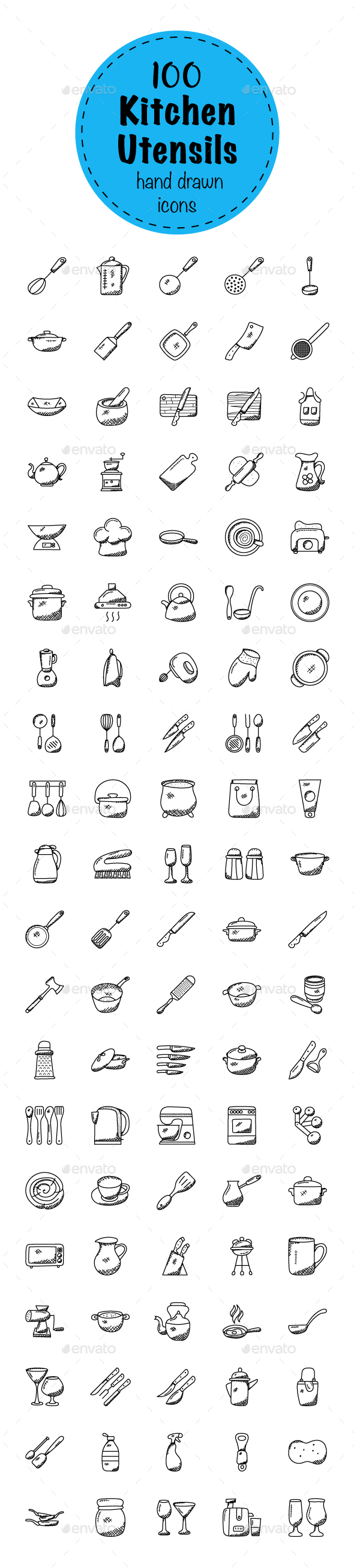 100 Doodles of Kitchen Utensils - Icons