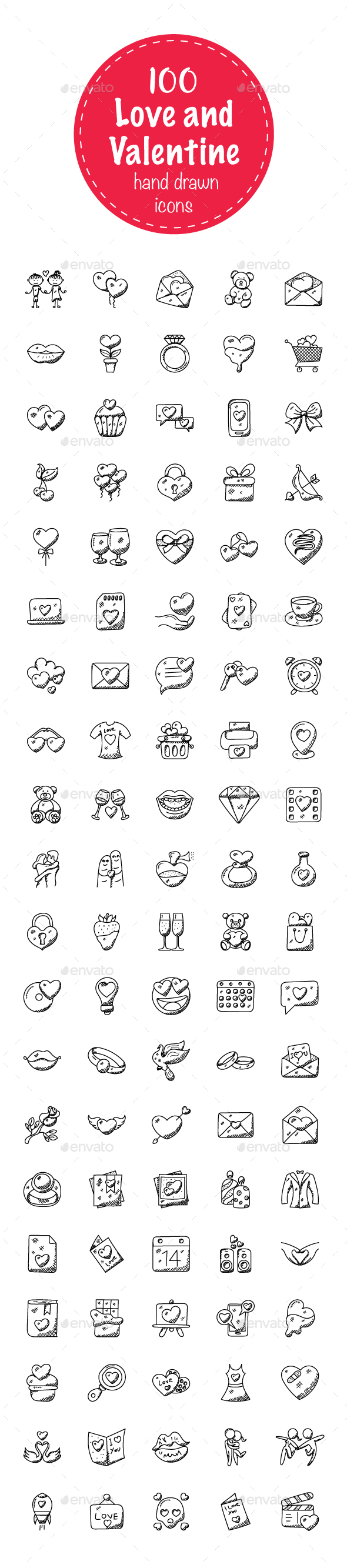 100 Love and Valentine Doodle Icons - Icons