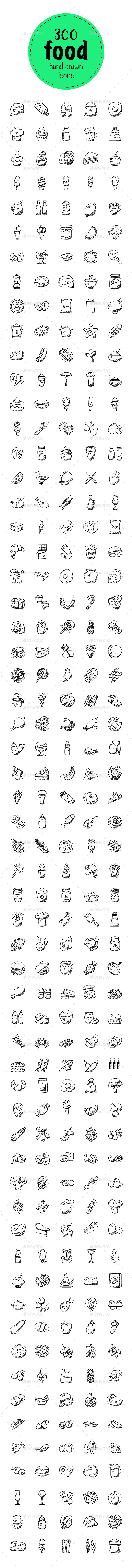 300 Food Hand Drawn Doodles Icons - Icons