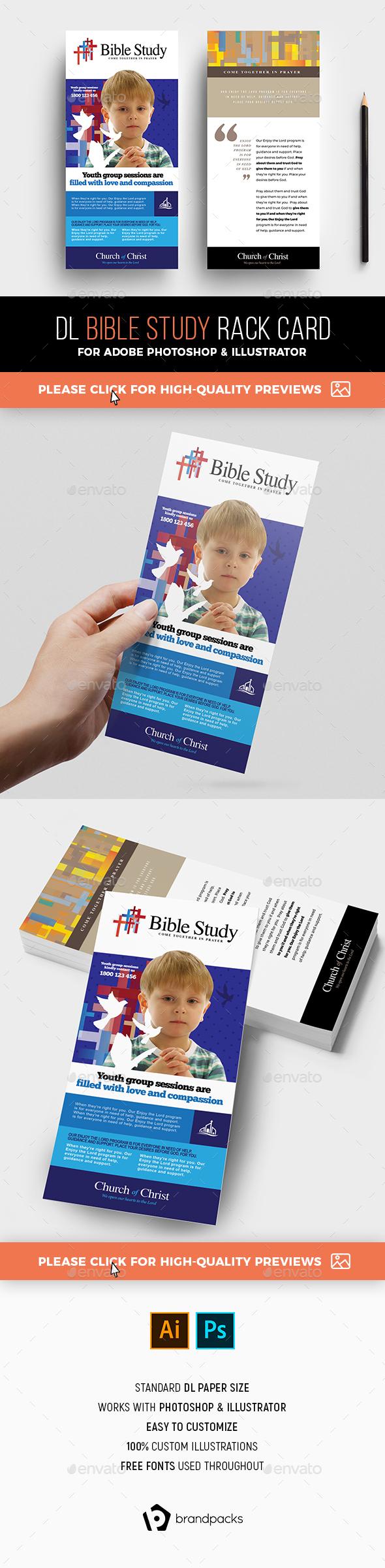 Bible Study Rack Card Template - Church Flyers