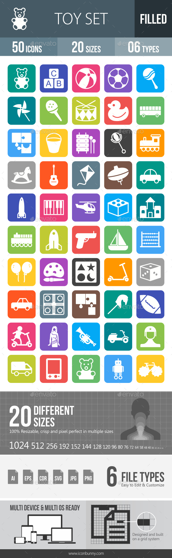 50 Toy Set Filled Round Corner Icons - Icons