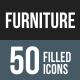 50 Furniture Filled Round Corner Icons