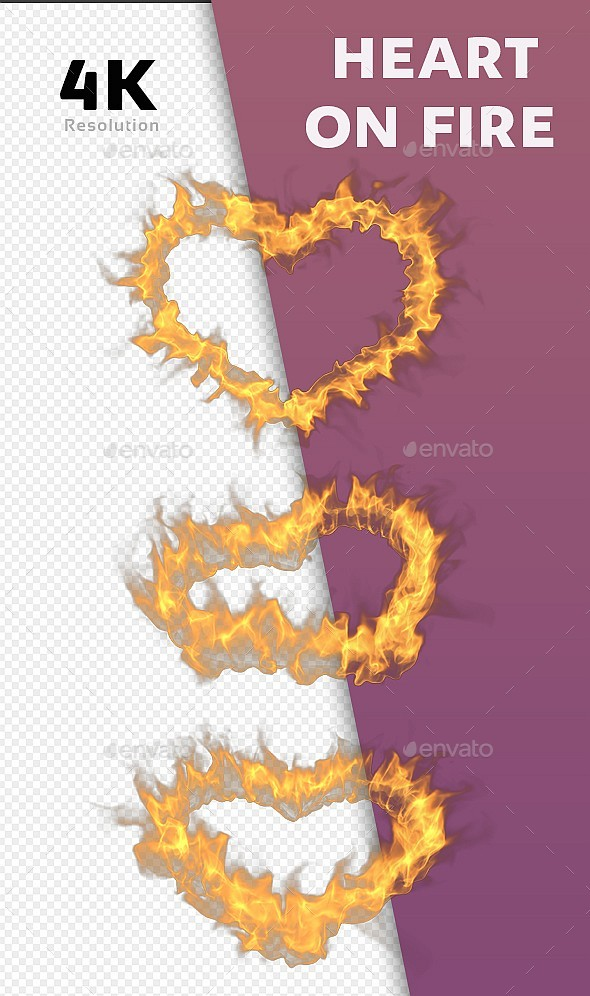 Heart On Fire - 3 Pack - Abstract 3D Renders