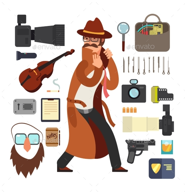 Cartoon Surveillance Detectives with Equipment - People Characters
