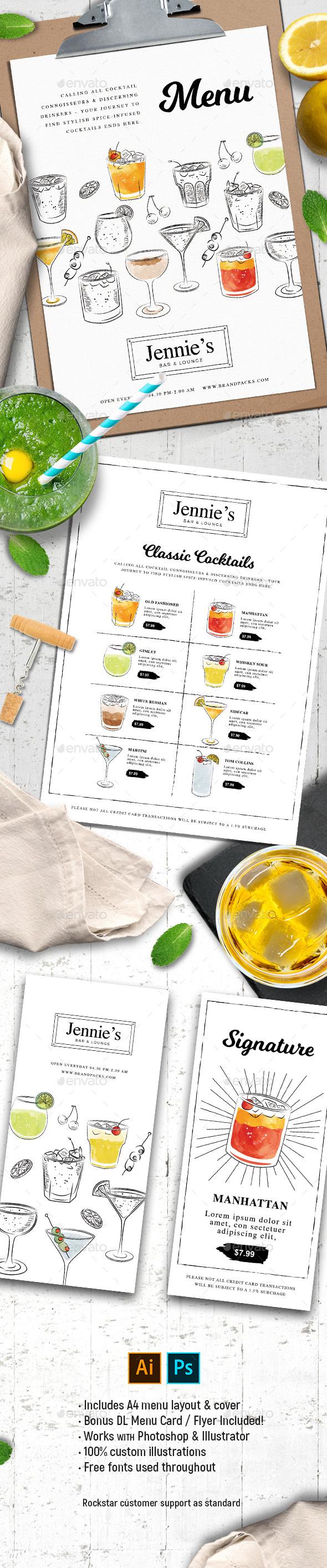 Cocktail Menu Templates 3 - Food Menus Print Templates