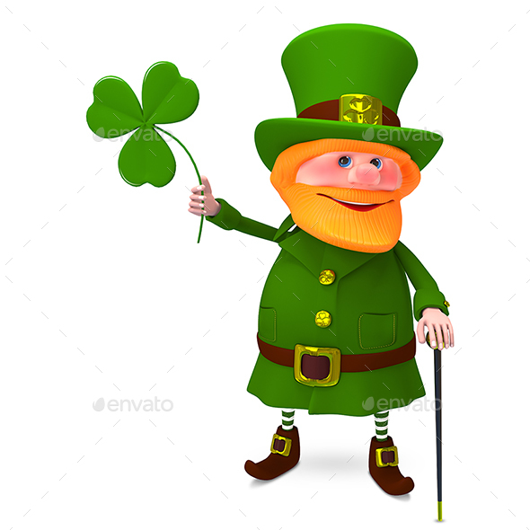 3D Illustration of Saint Patrick with Clover - Characters 3D Renders