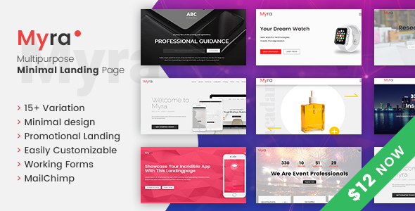 Myra - Multipurpose Minimal Landing Page Template - Landing Pages Marketing