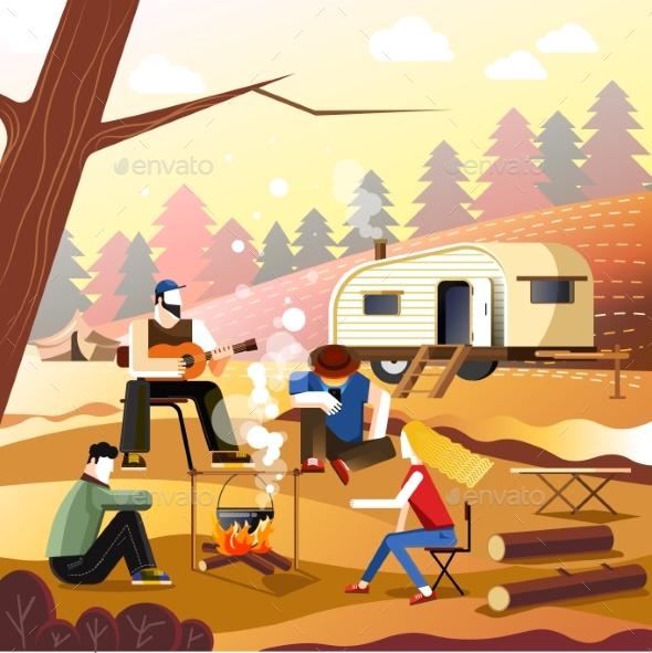 People Camping of Friends in Forest Outdoor - Sports/Activity Conceptual
