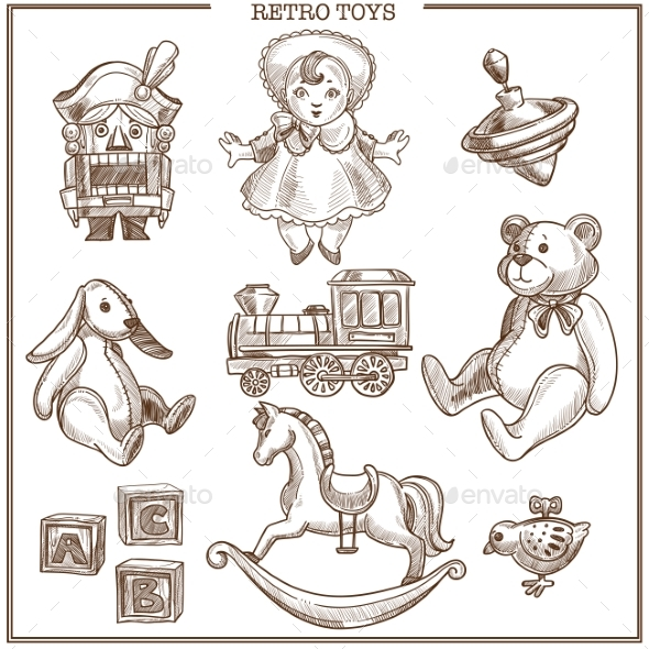 Retro Toys Sketch Collection Vector Hand Drawn - Man-made Objects Objects