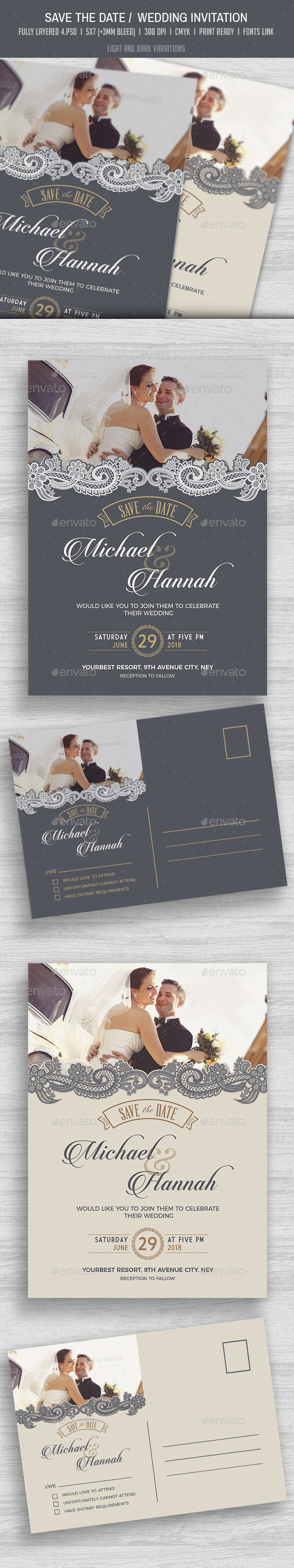 Save the Date / Wedding Invitation & RSVP - Weddings Cards & Invites