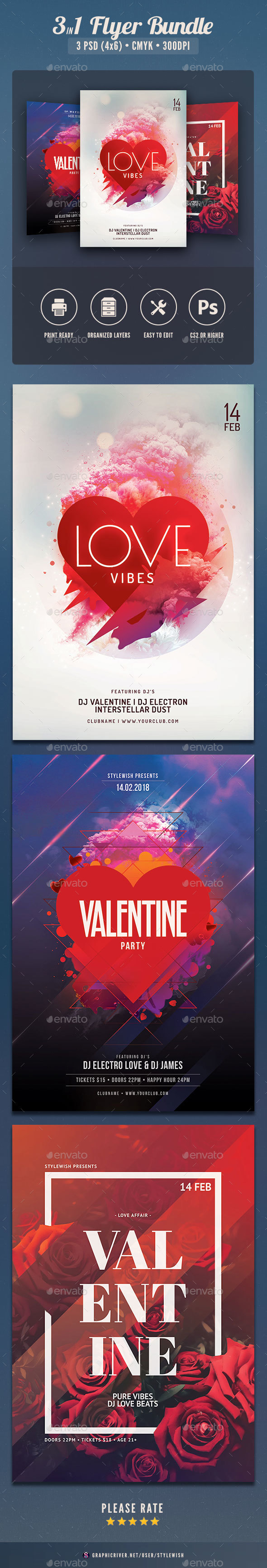 Valentine Flyer Bundle Vol.05 - Clubs & Parties Events