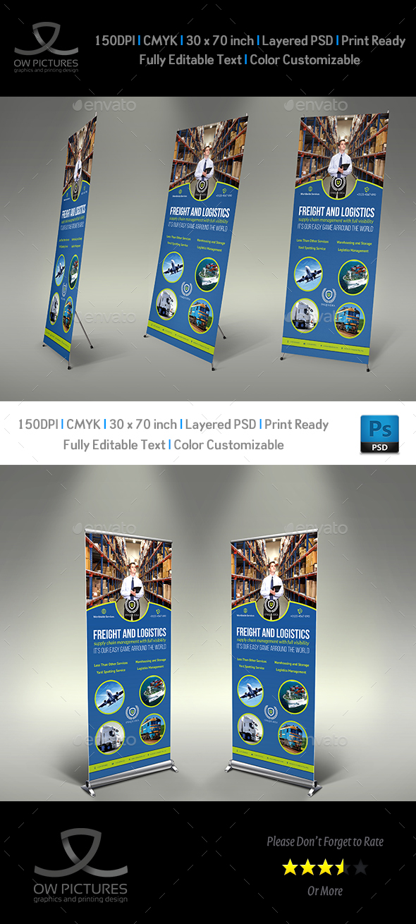 Freight and Logistic Services Signage Roll Up Banner Template - Signage Print Templates