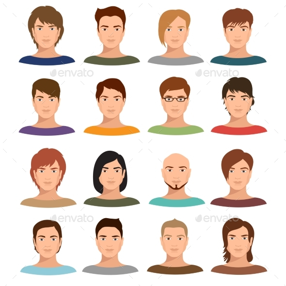 Young Cartoon Man Portraits with Various Hairstyle - People Characters