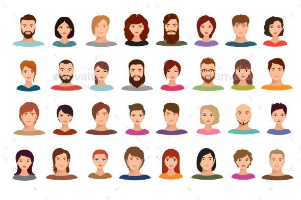 Women and Men Business People Team Vector Avatars - People Characters