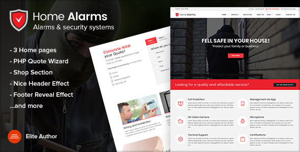 HomeAlarms - Alarms and Security Systems Site Template - Technology Site Templates