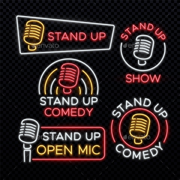 Stand Up Comedy Bright Neon Vector Signs - Miscellaneous Vectors