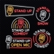 Stand Up Comedy Bright Neon Vector Signs