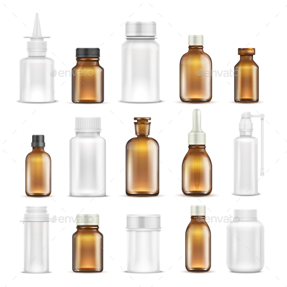 Medicine Glass and Plastic Blank Bottles Isolated - Man-made Objects Objects