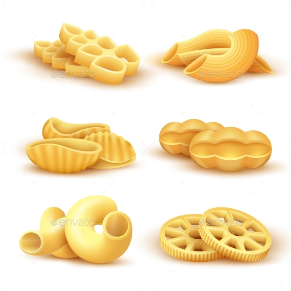 Italian Pasta and Spaghetti 3d Realistic Vector - Food Objects