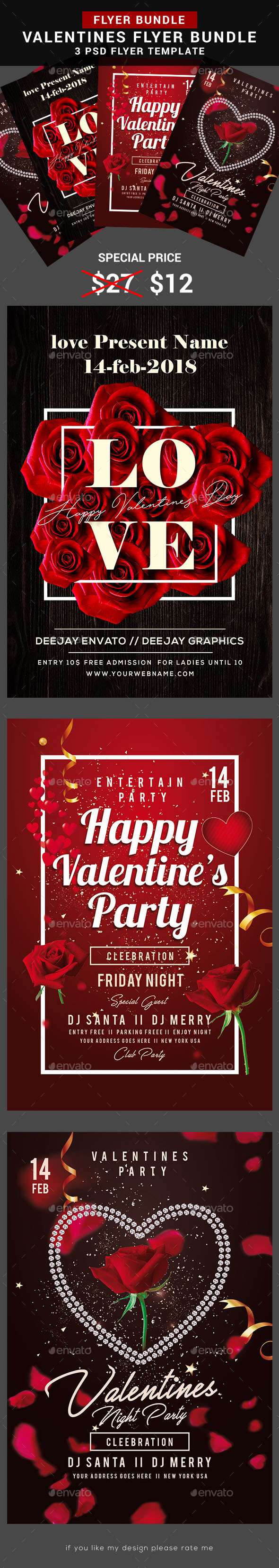 Valentines Day Bundle - Flyers Print Templates
